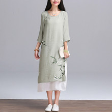 Plus Size Women Casual Long Dress New 2017 Fashion China Style Vintage Cotton Linen Comfortable Loose Summer Elegant Dress H228