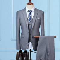 2020 Grey Men Suit Dinner Jacket Slim Fit Groom Tuxedo Mens Suits For Wedding Prom Men Blazer Pants Vest 3 Pieces Suit set Terno