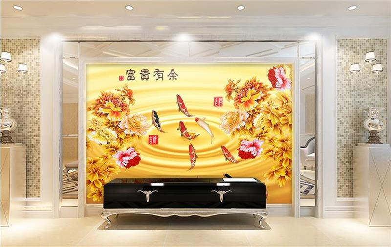 Us 14 99 50 Off Custom Photo 3d Wallpaper Non Woven Mural Nine Peony Koi Fish Decoration Painting 3d Wall Murals Wallpaper For Walls 3d In