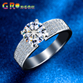 GR.NERH Best Quality One 7mm 1.25ct Cubic Zirconia  Three Rows simulated Diamond Wedding Ring For Fine Jewelry