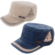Vintage Flat-top Canvas Baseball Cap Casual Color Block Unisex Hat Women Men hats