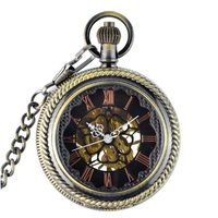 2017 WOONUN Steampunk Pocket Watch Men Fashion Bronze Skeleton Mechanical Hand Wind Pocket Watches With Chain Fob Watches