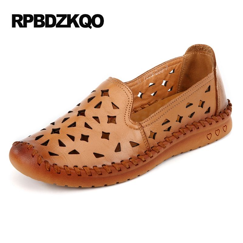 Yellow Large Size Moccasins Hollow Out Flats Size 9 Rubber Sole Slip On Breathable Cheap Shoes China Round Toe Elderly Latest
