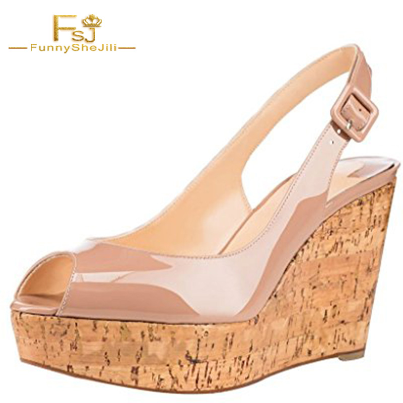 Sweet 2017 Nude Women Patent Leather Jelly Peep Toe Slingback Wedges Chunky Cork Heel Sandals With Ankle Strap Shoes Size FSJ US stylish women s peep toe shoes with buckle strap and chunky heel design