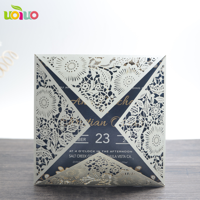 unique design golden wedding invitations with flower lace laser cut