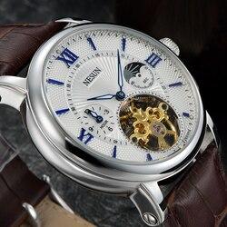 Szwajcarski nesun Hollow zegarek tourbillon mężczyźni luksusowej marki automatyczne mechaniczne zegarki męskie Sapphire wodoodporny zegar N9091-3