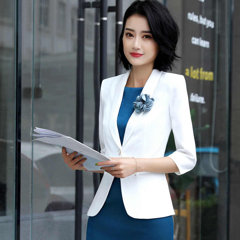Work Office Lady Dress Suits 2 Piece Sets Elegant Women Blazer Jacket + Sheath Silk Dresses Female Uniform Workwear 2019 OK220