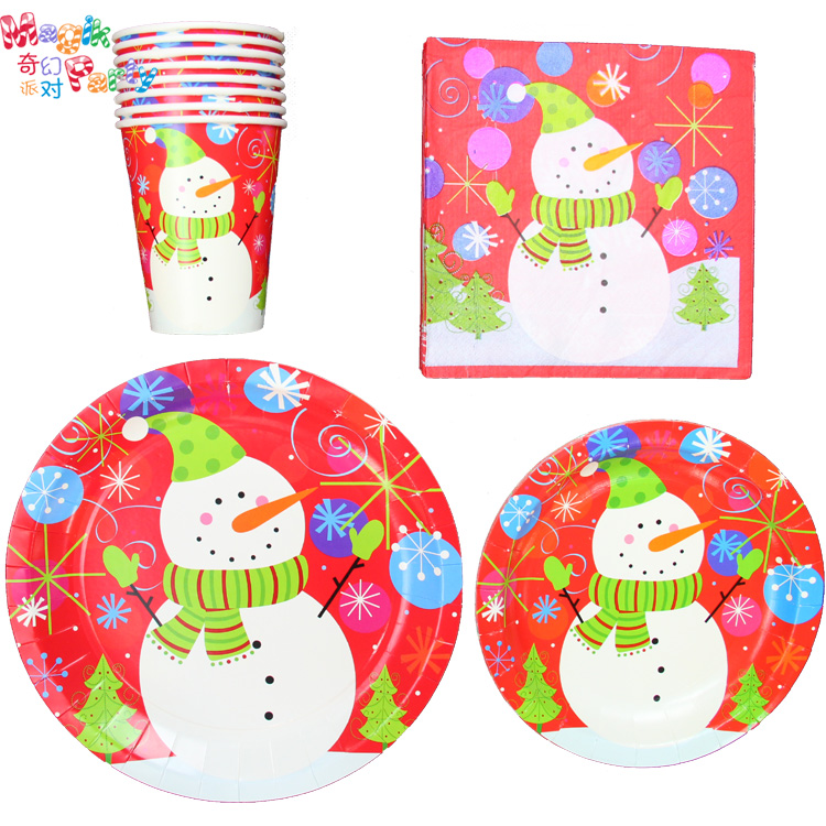 Amazing Christmas Party Paper Plates Part - 2: Party Supplies Christmas Part - 37: Christmas Party Supplies Red Paper  Tableware Snowman Christmas Paper