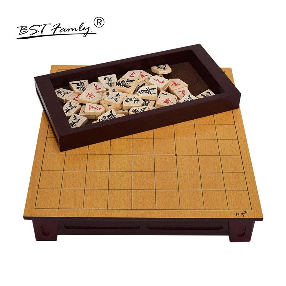 BSTFAMLY Wooden Japan Shogi 27 25 5cm 40 Pcs Set International Checkers Folding Sho gi Chess