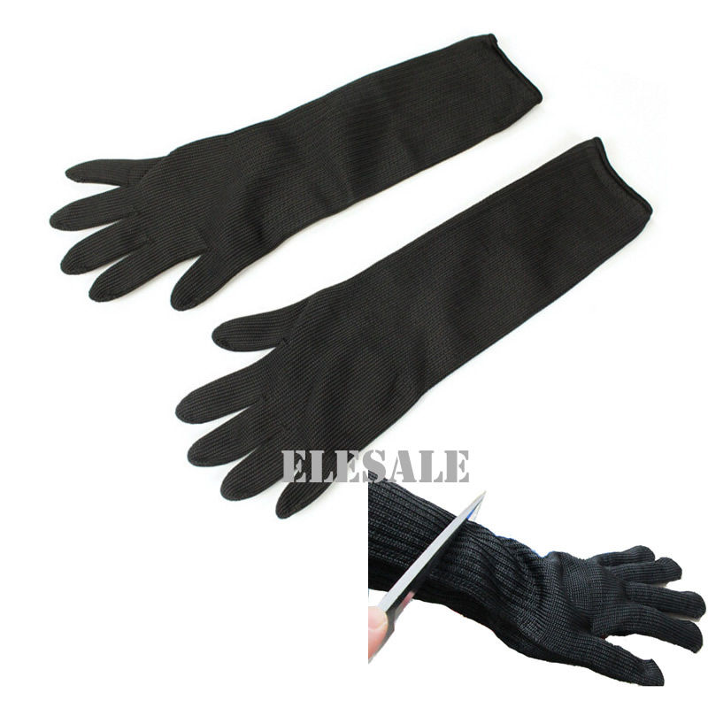 "1 Pair Black Working Safety Gloves 16"" Long Cut-Resistant Protective Stainless Steel Wire Butcher Anti-Cutting Gloves"