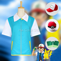 Pocketmon Ash Ketchum Cosplay Costumes Janpanese Anime Jacket Gloves Hat Ball Trainer Ash Clothing Masquerade