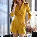 Dabuwawa мода желтый ПР knititng костюм комбинезон