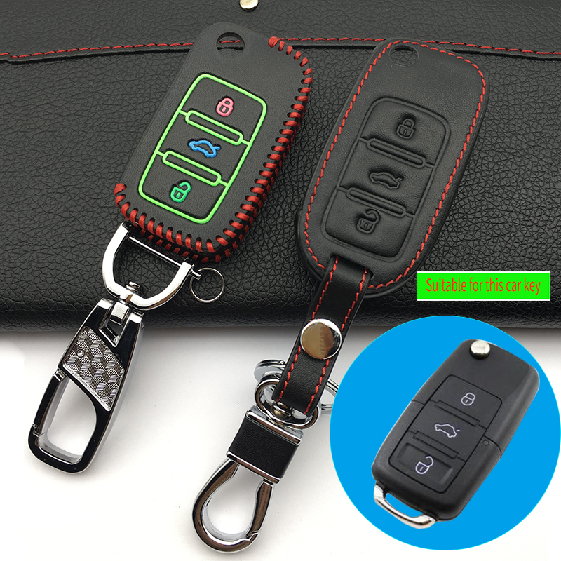 Leather Keychain Key Chain Case Keyboard cover for Volkswagen Jetta Passat  Golf A5 Remote Control Protector Car key box keys aee79bc11f3f