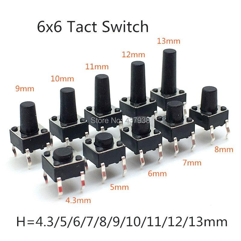 black Taiss 100 Pcs 6 x 6mm x 8mm PCB Momentary Tactile Tact Push Button Switch 4 Pin DIP
