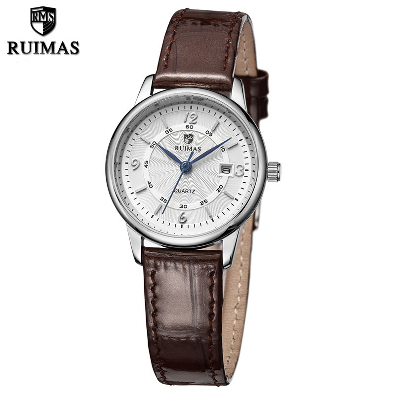 RUIMAS Leather Women Wristwatches Fashion Luxury Ladies Silver Quartz Watch Clock Relogio Feminino Montre Femme Watch for Girl 2017 ceramic ladies wristwatches rose gold watch women luxury fashion quartz watch female clock relogio feminino montre femme
