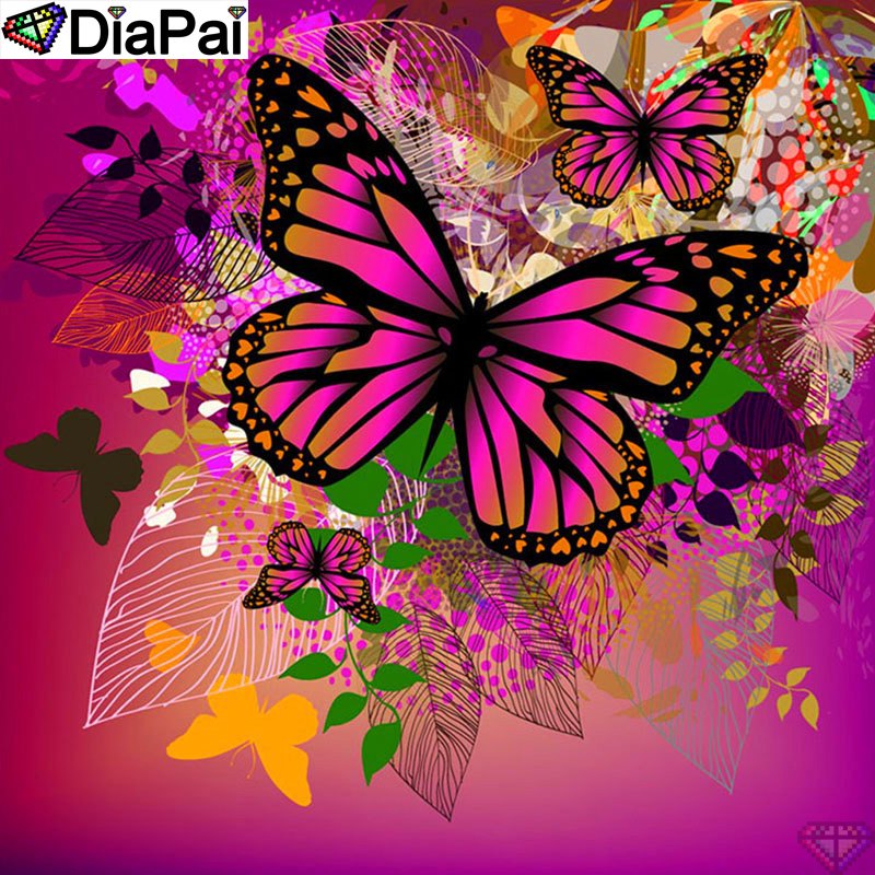 DiaPai 100 Full Square Round Drill 5D DIY Diamond Painting quot Flower butterfly quot Diamond Embroidery Cross Stitch 3D Decor A20044 in Diamond Painting Cross Stitch from Home amp Garden