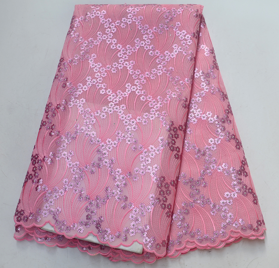 Pink African Organza Lace Fabric Embroidery French Nigerian Lace Fabrics High Quality For Women dress With SequinsPink African Organza Lace Fabric Embroidery French Nigerian Lace Fabrics High Quality For Women dress With Sequins