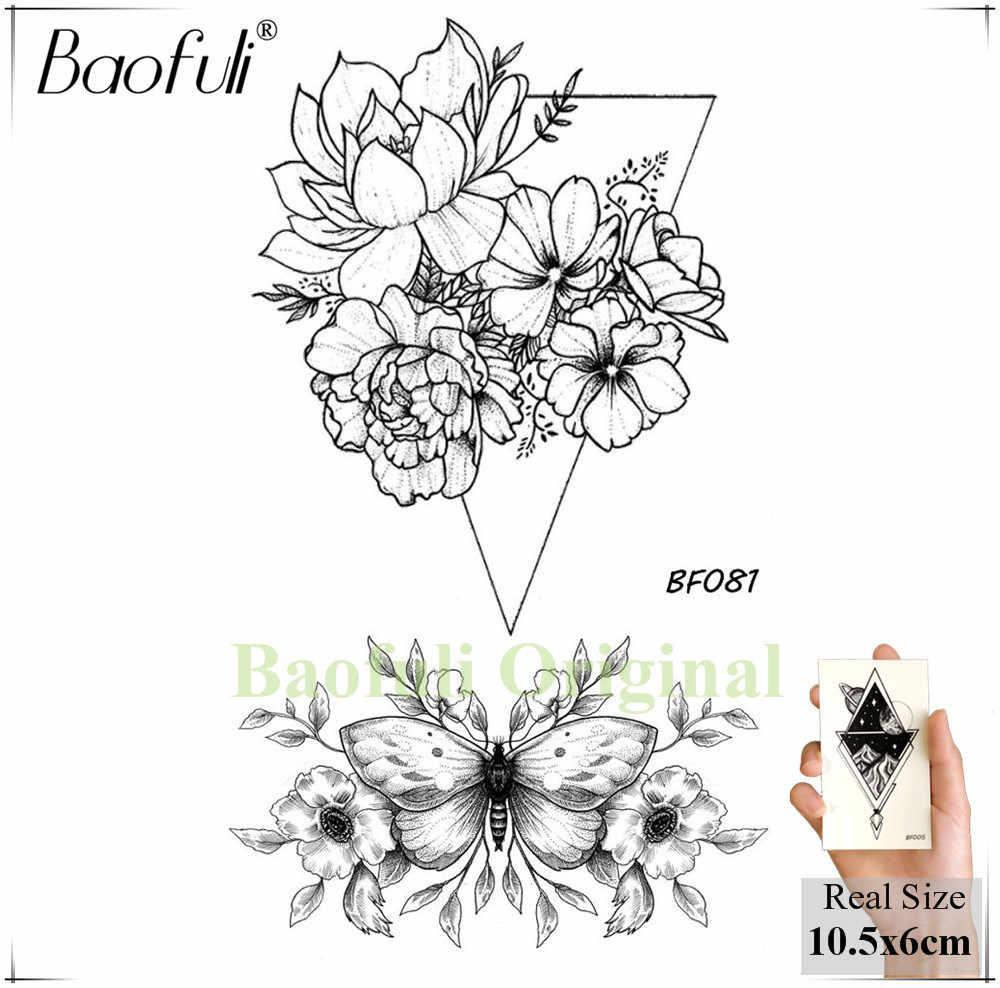 3d Hitam Geometris Sketsa Rose Bunga Tato Sementara Segitiga Daun