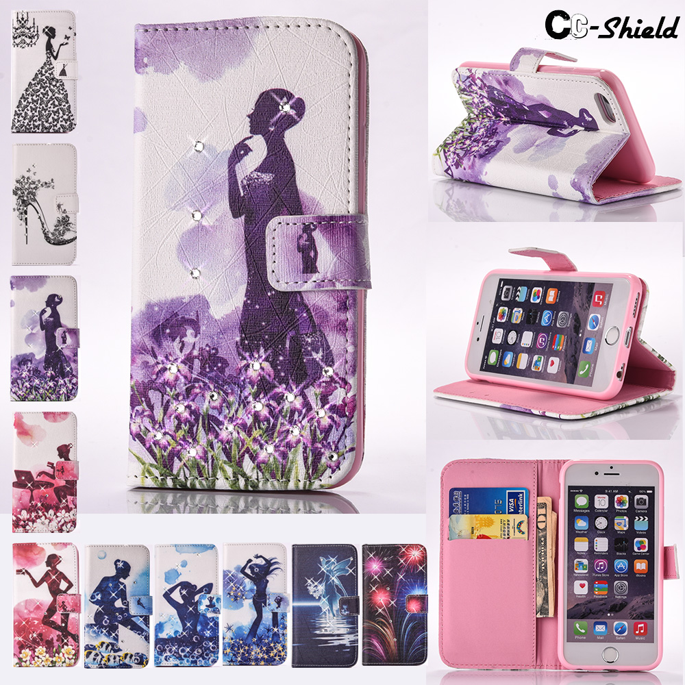 Painted Flip case for Apple iPhone 6 S 6S i Phone6S Phone6 Card Slot Case Phone cover for Apple i Phone 6 S 6S iPhone6 iPhone6S ...