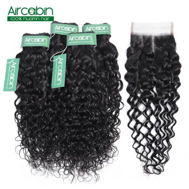 Brazilian Water Weave Bundles with Closure in 4 Bundle With closure Non Remy Hair Aircabin Hair Extension 100% Human Hair