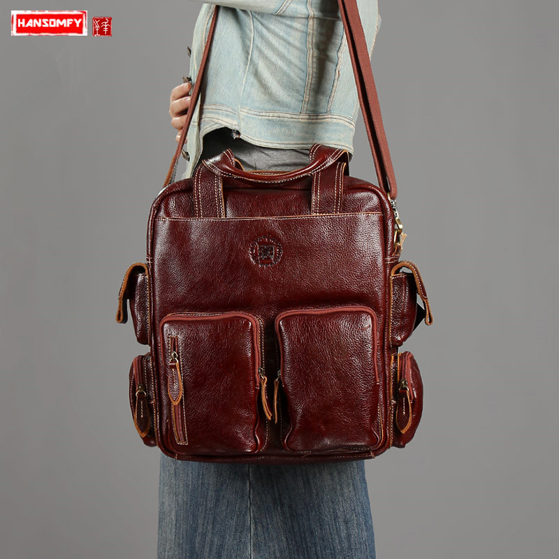 Women briefcase handmade shoulder messenger bags first layer real cowhide female handbag retro large capacity multi