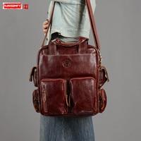 Genuine Leather Handbag Women Briefcase Laptop Shoulder Messenger Bags Female Retro Large Capacity Multi pocket Bag Real Cowhide
