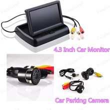 Wholesale  Car Rear View Camera Reverse Backup+4.3 inch tft lcd Rearview Monitor  ,Free Shipping