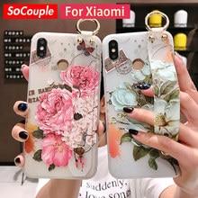 SoCouple Holder Phone Case For Xiaomi 9 CC9 A3 Lite 9t Pro Redmi Note 7 Pro K20 Flower Soft TPU Wrist Strap Hand Band Case