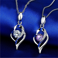 2 colors 925 Sterling Silver Austrian natural purple crystal love Heart Necklace women jewelry chain girlfriend gift