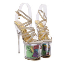 19 cm high with sandals 2016 new female summer cm high heels crystal sandals nightclub shoes