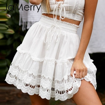 JaMerry 2019 Spring summer lace embroidery white skirt women Boho holiday high waist mini skirts Cute solid beach female skirts