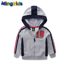 Mingkids Boys Hoodie Sweatshirt 4-9 Years cotton jacket Hooded Zipped Jumper for Autumn Spring