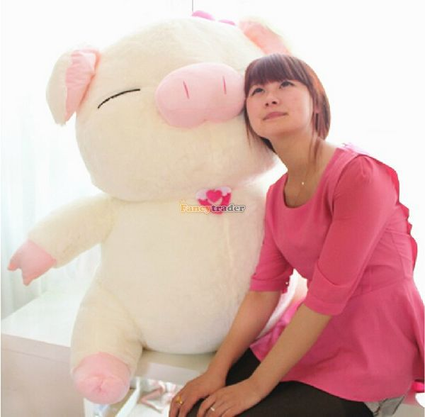 Fancytrader 43'' / 110cm Huge Lovely Stuffed Cute Plush Soft Pig Toy, Nice Gift For Kids and Friends, Free Shipping FT50385 fancytrader 2015 novelty toy 24 61cm giant soft stuffed lovely plush seal toy nice gift for kids free shipping ft50541