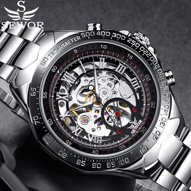 397520118ef SEWOR Esqueleto Mecânico Automático do Relógio Dos Homens Clássicos  Masculinos Relógio Top de Luxo Da Marca