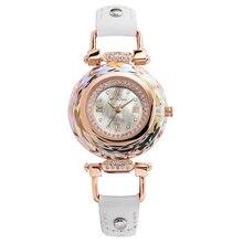 Luxury Crystal Melissa Lady Womens Watch Shell Hours Fine Fashion Bracelet Real Leather Rhinestones Girls Birthday Gift Box