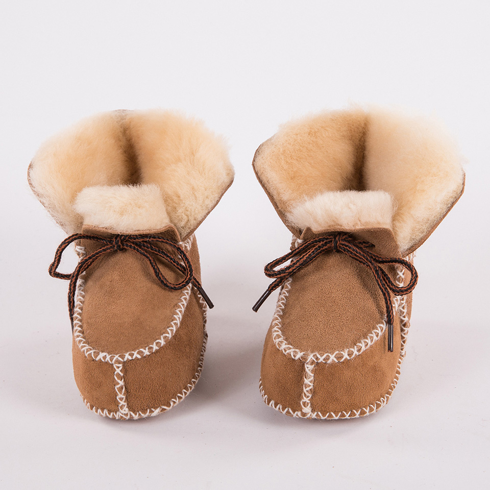 Baby Boy Boots Moccasins-Shoes Plush-Sheepskin Toddler Girls Soft Winter Genuine-Leather