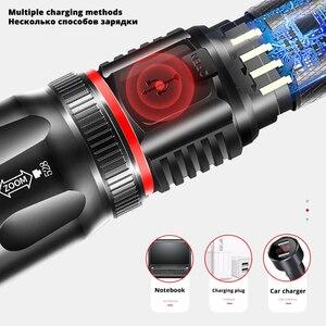Image 3 - Ładowarka USB wysokiej klasy latarka LED otaczająca lampa cob + magnes tylny designerska podpora zoom 4 tryby oświetlenia wodoodporna latarka