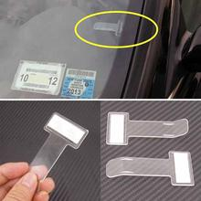 4pcs Auto Car Ticket Folder Mini T-shape Transparent Environmentally Ticket Folder Car Holder Mount Car Styling for Office Home(China)
