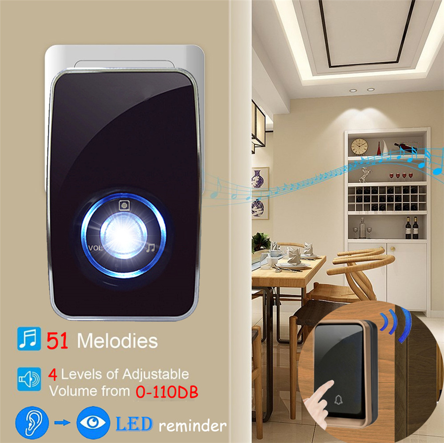 YIFAN NEW Wireless doorbell NO BATTERY waterproof LED night light control 51 Music 150M Remote smart Door bell chime EU Plug AC 110-220V 1 2 Button 1 2 receiver 3