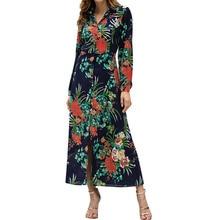 2019 Women Autumn Winter Boho Floral Print Buttons Shirt Dress Long Sleeve Temperamental Elegant Dresses