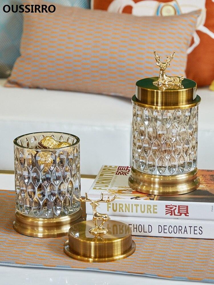 Style européen Transparent cristal verre bonbons pot de stockage pot ustensile décoratif créatif salon bijoux décoration