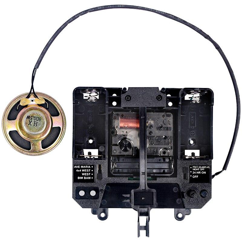 Rhythm Silent Movement Music Chime Box Plastic Quartz Mechanism With Hands & Pendulum Drive Units DIY Clock Accessory Kits