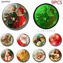 Cute Christmas Gift Cartoon Santa Claus 9PCS 25MM Luminous Magnetic Stickers glass Fridge Magnet Set for Refrigerator Decoration