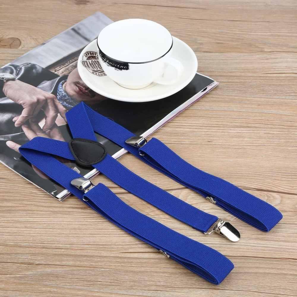Moda Unisex Donna Uomo elastico clip-on bretelle Strap pantaloni bretelle regolabili Bretelle adulti bretella