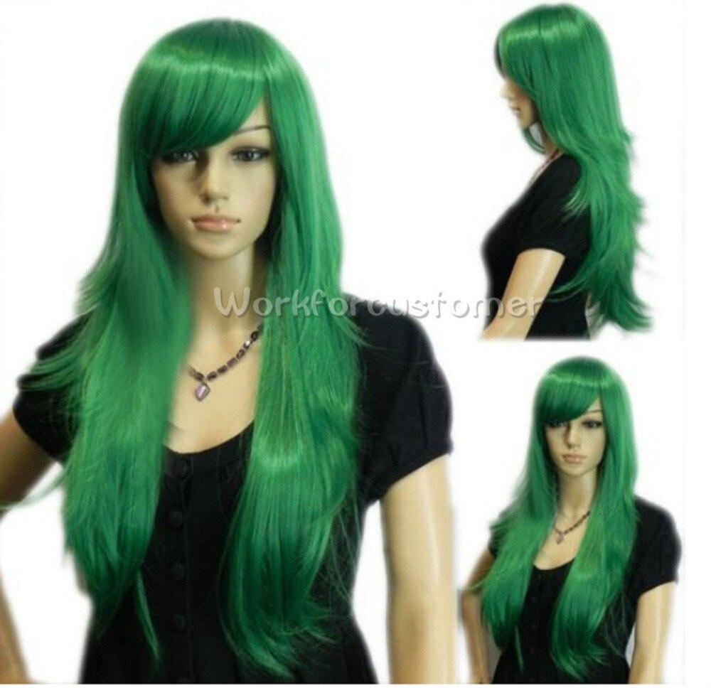 girl bright dark green long straight
