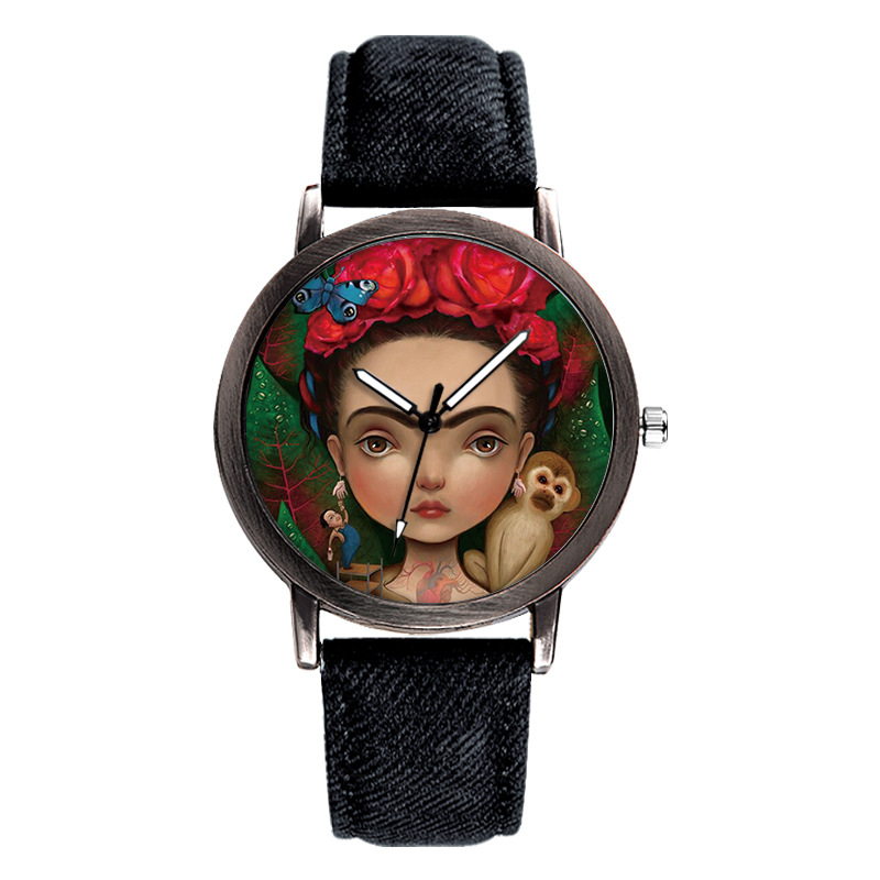 Quartz Watches New Brand Retro Leather Women Watches Fashion Denim Cartoon Girl Quartz Watch Ladies Monkey Dial Wrist Watch Relogio Feminino Watches