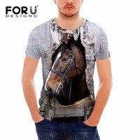 Forudesigns marca diseñador hombres camiseta divertida 3D Crazy Horse impreso superior Camisetas Tees verano manga corta casual Hombre fitness camiseta