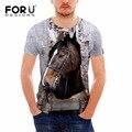 Forudesigns t shirt dos homens de 2017 nova moda casual cavalo 3d impresso camiseta manga curta de algodão roupas masculinas camiseta masculino s-xxl