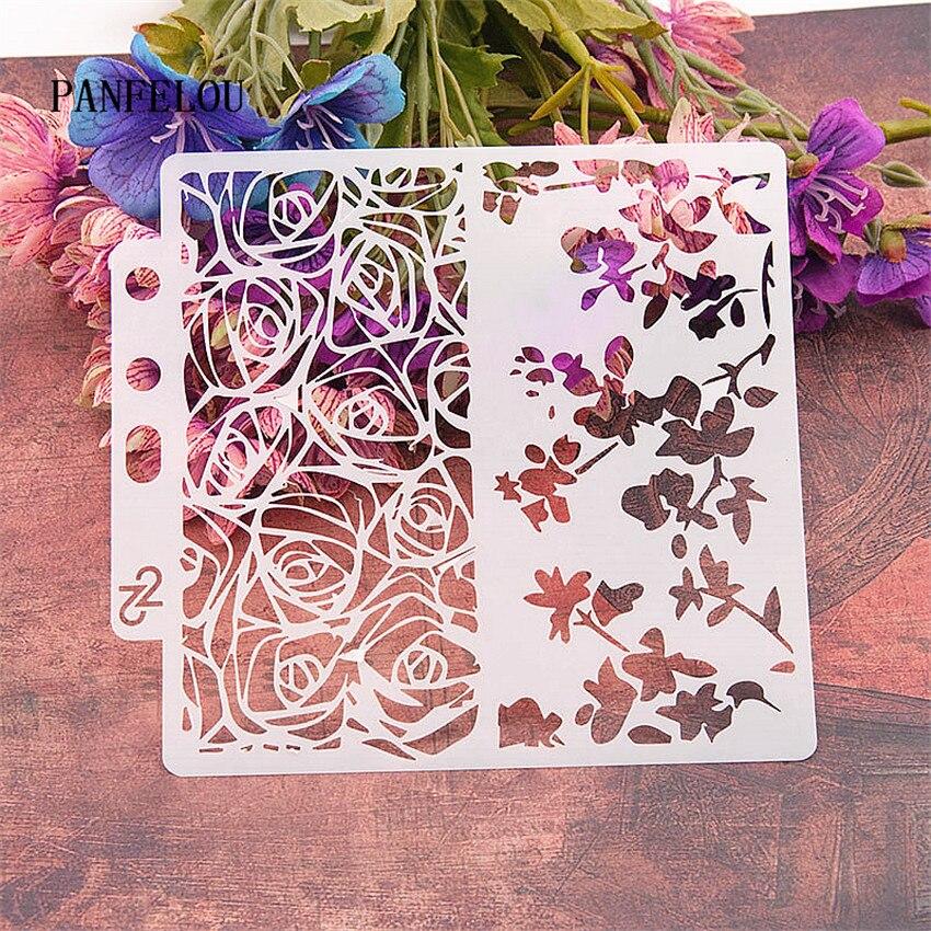 Rose Card Scrapbook Stencils Spray Plastic Mold Shield DIY Cake Hollow Embellishment Printing Lace Ruler Valentine