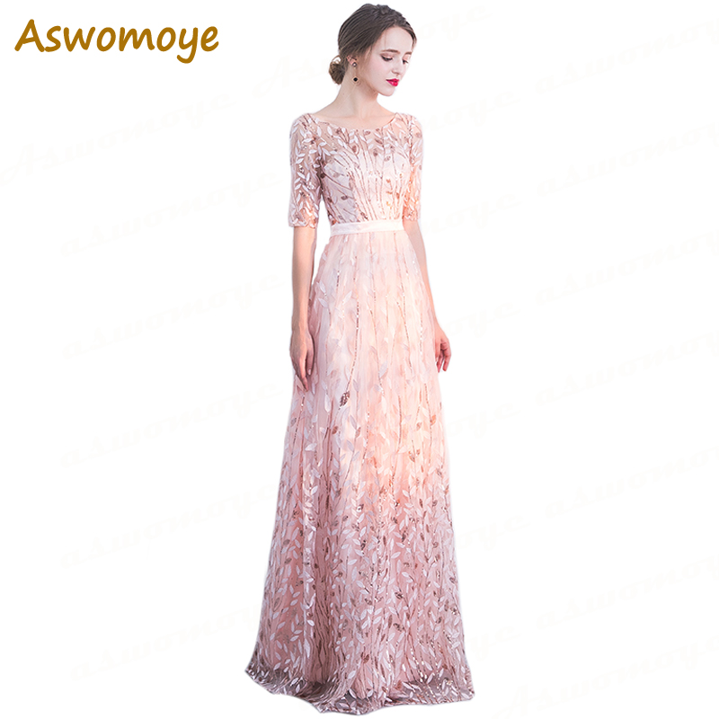 Illusion O-Neck Long Evening Dress 2018 New Stylish Party Dresses A Line Luxury Half Sleeve Appliques Prom Dress Robe De Soiree
